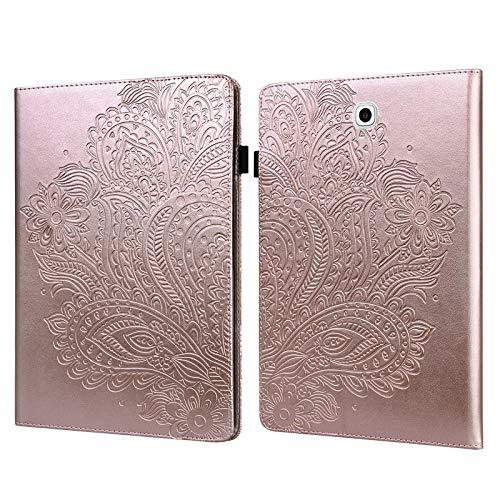 ShinyCase PU Piel Tablet Case Paisley en Relieve Tapa Funda para Samsung Galaxy Tab S2 9.7/SM-T810 SM-T815 SM-T813, Tablet Protectora Carcasa con Soporte Ranura para Tarjeta Magnética Cubierta Oro