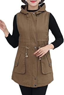 Macondoo Women Coat Hooded Sleeveless Full Zipper Jacket Vest with Belt