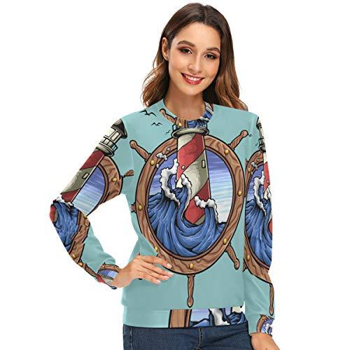 Lupinz Damen Fleece-Sweatshirt, Leuchtturm und nautische Schilder, Rundhalsausschnitt Gr. Large, 1