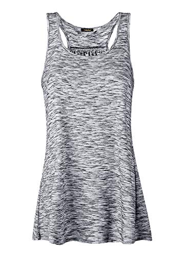 Lantch Damen Tank Top Sommer Sports Shirts Oberteile Frauen Baumwolle Lose for Yoga Jogging Laufen Workout, S, Grau