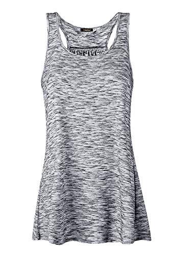 Lantch Damen Tank Top Sommer Sports Shirts Oberteile Frauen Baumwolle Lose for Yoga Jogging Laufen Workout, S, Grau