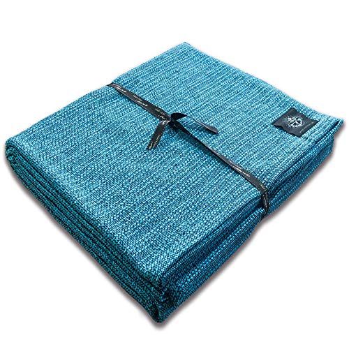 Craft Story Decke Yara I Uni türkis aus 100% Baumwolle I Tagesdecke I Sofa-Decke I Überwurf I Bedspread I Plaid I Picknickdecke I Läufer I 170 x 220cm