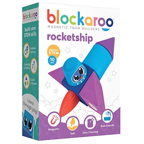 Blockaroo Magnetic Foam Building Blocks – STEM Preschool Toys for Babies, Toddlers, Boys and Girls, The Ultimate Bath Toy – Rocket Set