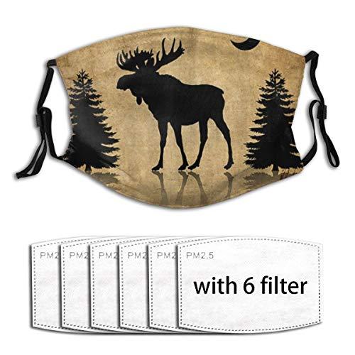 ZORMIEY Face Cover Vintage Tier rustikale Elch Elch Hirsch Wald Kiefer Baum Mond Design Wiederverwendbare Anti-Staub-Mund-Bandanas mit 6 Filtern