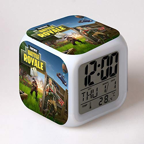 Reloj despertador personalizado reloj despertador led luz 7 cambio de color pantalla lcd reloj masa saati mesa vintage plástico termómetro digital amarillo