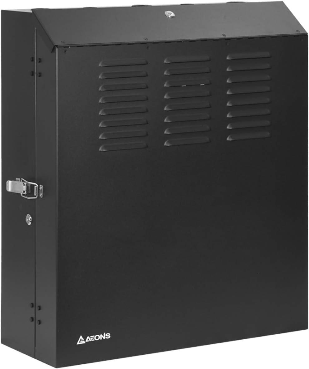 AEONS 5U 19-Inch Low Profile Vertical Wall Mount Enclosure Server Depth Rack Network Patch Panel Cabinet Black