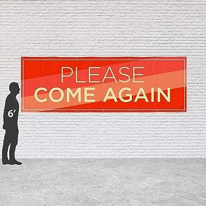 12x4 CGSignLab Please Come Again Modern Diagonal Heavy-Duty Outdoor Vinyl Banner