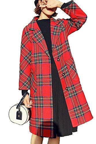 Las Mujeres De Manga Larga A Cuadros De Lana Invierno Casual Outwear Abrigos Tres Cuartos