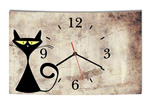 Homeyourself LAUTLOSE Designer Wanduhr Katze beige braun lustig modern Dekoschild Abstrakt Bild 39 x 25cm