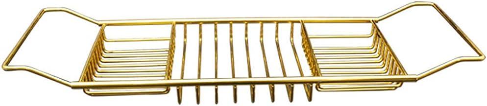 Bathtub Rack, Stainless Steel 3 Compartment Rust Free Over Bath Tub Rack Shower Caddy Bath Rack Organiser Tray,Gold