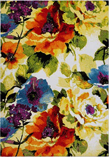 """Ladole Rugs Contemporary Painting Flowers Area Rug Living Room Bedroom Entrance Hallway Carpet in Multicolor 8x11 (7'10"""" x 10'5"""" 240cm x 320cm) 5x7 8x10 9x12 2x10 4x6 feet -  FKDS10594"""