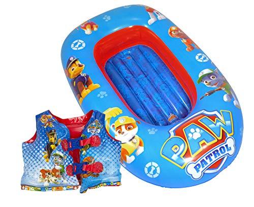 Saica - Set Barca Y Chaleco HINCHABLES para Niños y Niñas Paw Patrol / Patrulla Canina - Medias Barca 90 cm y Chaleco: 35x30 cm
