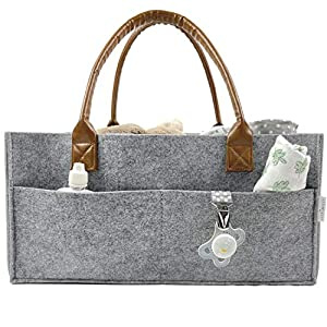 Portable Baby Diaper Caddy Organizer for Changing Table or Car – Neutral Baby Shower Basket – Nursery Storage Organizer – Baby Caddy for Nappy – (Heather Gray, Large)