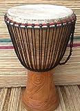 Tambor africano yembé auténtico (cabeza de 33 cm, 65 cm de altura) con 3 instrumentos pequeños incluidos