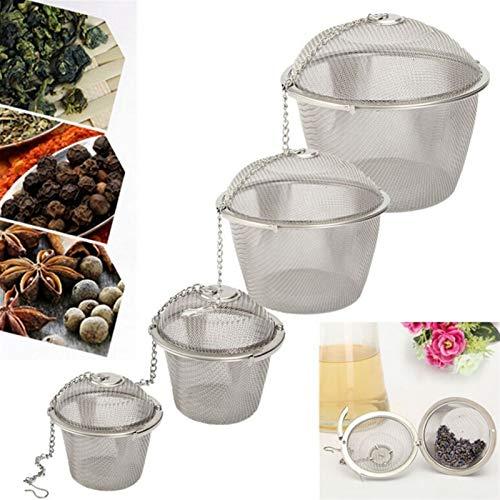 Colador de té Herbal Ball Tea Spice Strainer Teakettle Bloqueo Filtro de té 4 Tamaños Durable Plata Reutilizable Malla Inoxidable Infusor Herramienta de Especias Infusor de té (Color : Size S)