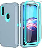 ONOLA Compatible for Moto E Case 2020 with HD Screen Protector (2 Pack),Drop Protection Full Body Rugged Heavy Duty Case,Shockproof Dust Proof 3-Layer Durable Cover for Motorola E 2020(GreySkyblue)