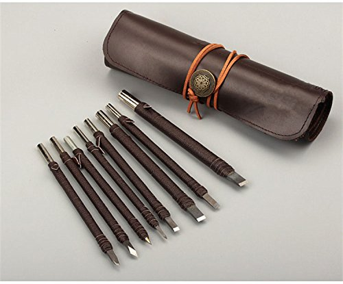 Rakukaimono 8pcs stone carving tool chisels / knife set kit tungsten alloy steel with leather bag