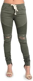 Women's Biker Style Ripped Zip Rider Pants Jeans Joggers