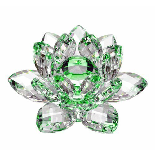 Amlong Crystal Hue Reflection Crystal Lotus Flower with Gift Box, Green (3 Inch)