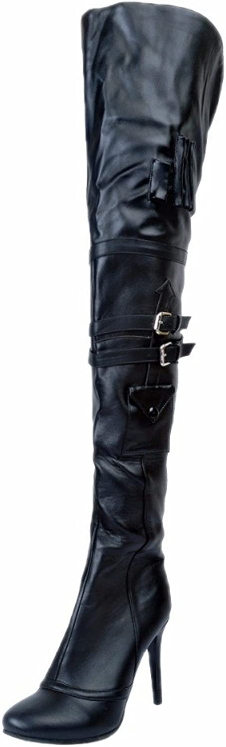 Original Intention Women Over-The-Knee Boots Round Toe Thin Heels Black shoes