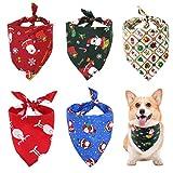 nuoshen 5 Pieces Dog Christmas Scarf Christmas Dog Bandana Santa Claus Plaid Bandanas Triangle Bibs Scarfs for Pet Costume Accessories