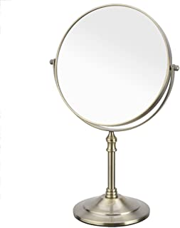 European 3X Magnifying Makeup Mirror, Double-Sided, Free-Standing, Tabletop Vanity Mirror, Round, Rotating, Shaving Mirror 8 Inch 7 Inch 6 Inch 5CD1