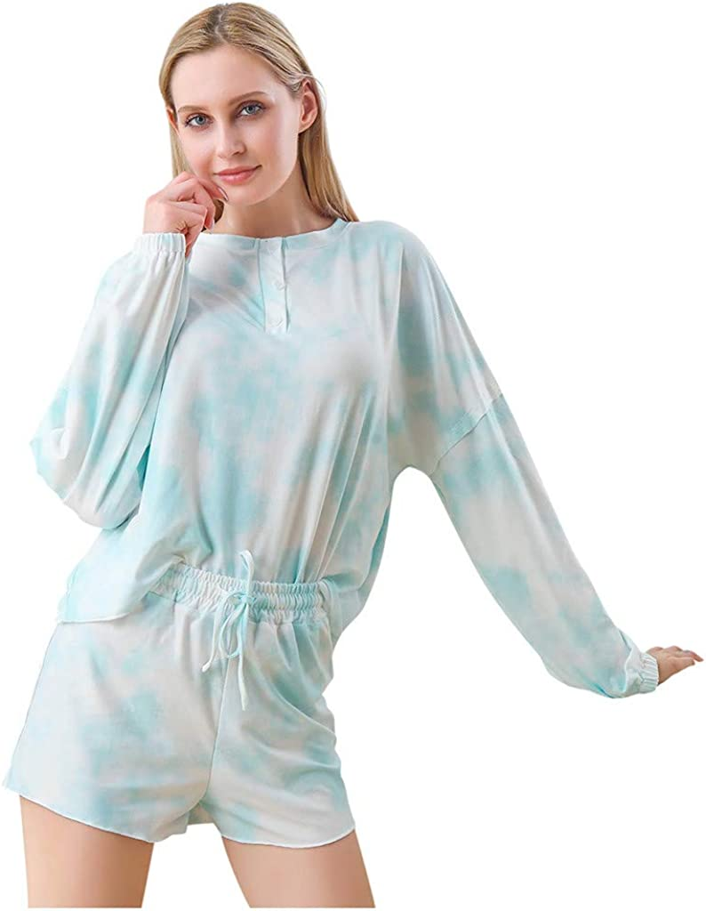 Hessimy Pajamas for Women Shorts Set,Womens Tie Dye Print Long Sleeve Loungewear Nightwear Sof 2 Piece Short Pajamas Set