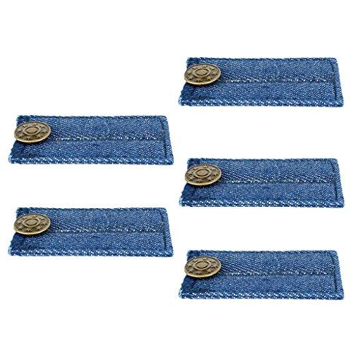 Homyl - 5 peças de calça jeans azul, extensor de cintura, botão, expansor, suprimentos