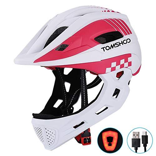 TOMSHOO Kinderfahrrad Integralhelm Kindersicherheit Skateboard Rollerblading Helm Sport Kopfschutz mit Rücklicht und abnehmbarem Kinn(Weiß)