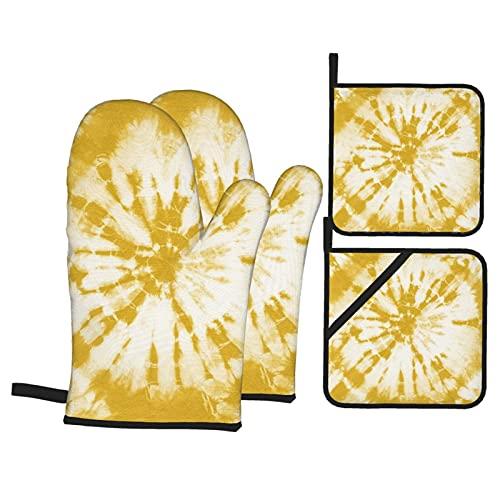 Nicegift Amarillo Tie-Dye acolchado de algodón con bolsillo de posición de dedo, guantes de horno resistentes al calor para cocinar o hornear: 28 x 18 cm y Ph: 20 x 20 cm (juego de 4 piezas)