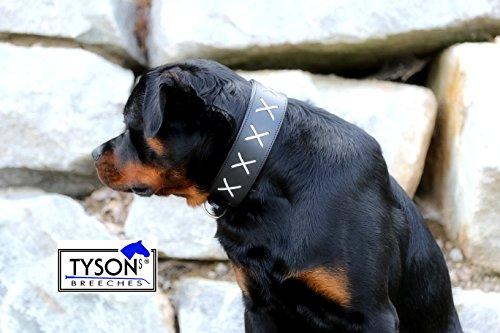 Hundehalsband Leder Halsband extra BREIT Zierstick Schwarz Weiss M L XL Mittel bis großer Hund Tysons genäht (XL)