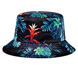 Quanhaigou Plant Leaf Printed Bucket Hat for Women Trendy Fishing Hats Sun Protection for Summer Apply to Outdoor Travel Beach Golf