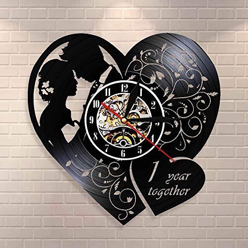 Reloj de pared personalizado de un año de boda aniversario de 1er aniversario citas regalo de matrimonio para él y su reloj de decoración para el hogar personalizado