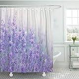 kekeshigedou Duschvorhänge Mehltau Beweis Scenic Mit Haken Lavendel Blumen Bei Sonnenlicht Im Fokus Pastellfarben Und Blau Violett Feld Dekoratives Badezimmer 180x200cm