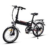 AMDirect Bicicleta Eléctrica Plegable con Batería de Litio(36V 8Ah) Desmontable Bicicleta de Montaña de 20 Pulgadas E-Bike Motor 250W Sistema de Transmisión con Linterna y Cargador(Negro-20 Pulgadas)