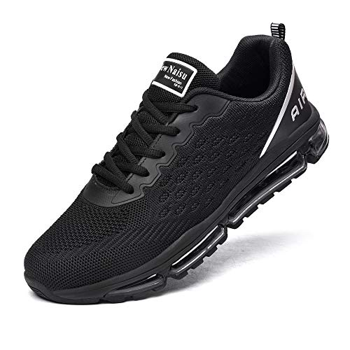 NewNaisu Unisex Sportschuhe Herren Damen Laufschuhe mit Luftpolster Turnschuhe Sneakers Air Schuhe Trainer Leichte Profilsohle Schwarz 43