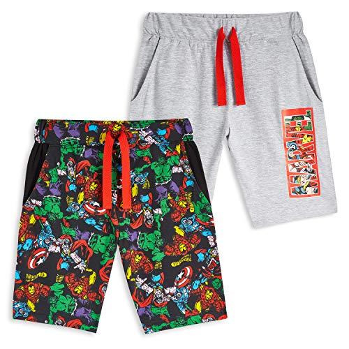 Marvel Kurze Hosen Jungen, Avengers Hosen für Jungen 2er Set mit Captain America Hulk Thor Iron Man, Baumwolle Sporthose Kinder und Teenager, Fanartikel, Geschenke für Kinder (5-6 Jahre)