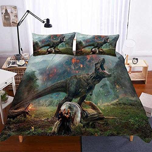 AHJJK Duvet cover set 55 x 79 inchCharacters and dinosaurs 3D Printed Microfiber Bedding Duvet Cover with 2x Pillowcases & Zipper Closure Quilt Case for Boy Girl Single Double King Bed