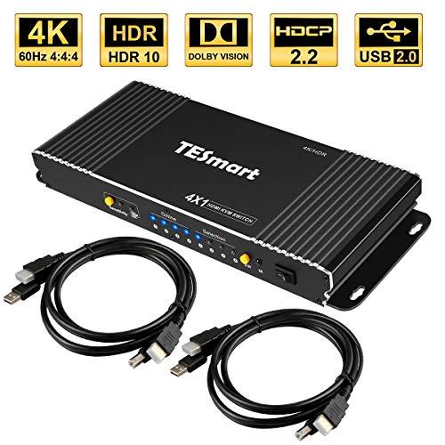 TESmart 4x1 HDMI KVM Switch,HDMI 4K 3840x2160@60Hz 4:4:4 mit 2 Stück 5ft/1,5m KVM Kabeln unterstützt USB 2.0 Geräte Steuerung von bis zu 4 Computern/Servern/DVRs (Schwarz)