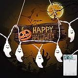 OldPAPA Halloween String Lights 5Meter 40 LED alimentato a batteria, luci esterne impermeabili per arredamento interno, casa, giardino, festa, fantasmaC