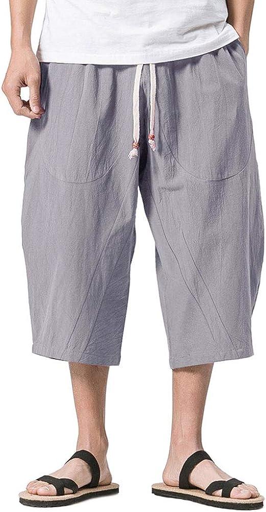 CRYSULLY Men's Baggy Linen 3/4 Pants Elastic Waist Drawstring Harem Shorts