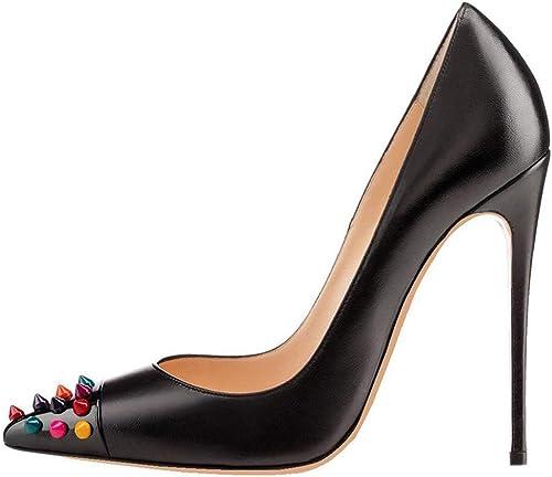 JIQHB Chaussures de Femme - Cuir Talons Talons Hauts Bout Pointu Sexy 10cm Robe Escarpins Stilettos Sexy Confortable Mariage Fête  voici la dernière