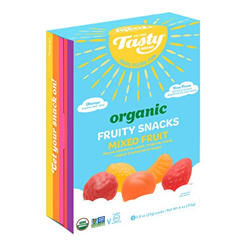 Tasty Brand Organic Fruit Snacks, Mixed Fruit Flavors, 4 Ounces 5-Count Packages (Pack of 6)