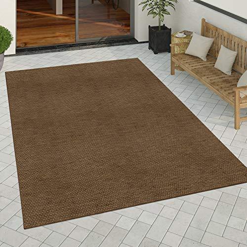 Paco Home In- & Outdoor Teppich Küchenteppich Einfarbiges Design Sisal Optik Modern Braun, Grösse:60x110 cm