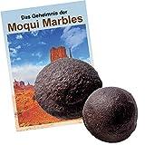 """Moqui Marbles Paar ca. 2,5-3cm. MIT Zertifikat, deutschsprachigem BOOKLET """"Das Geheimnis der Moqui-Marbles"""" und Stofftäschchen."""