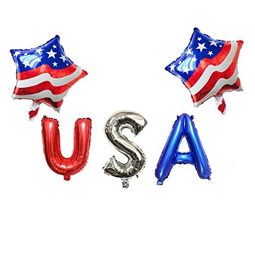 Patriotic 4th of July foil Balloon Pack 2 Stars Balloons 3 USA Letter Balloons 4th of July Party Supplies Patriotic USA Balloon Set Decor, Mylar Balloon Decoration