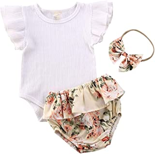 Livingsenburg Baby Girls Bodysuit Shorts Headband Ruffle Short Sleeve Romper Newborn 3Pcs Outfits Clothes Set 0-18 Months