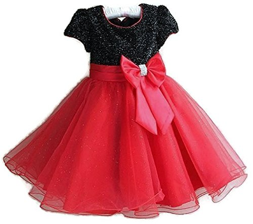 Occasions and More -  Abitino - Linea ad a - Bebè Femminuccia Black And Red 7-8 Anni