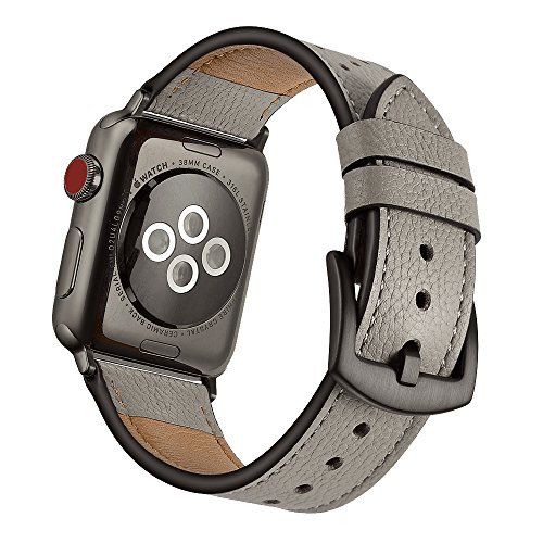 Mifa Compatible w/Apple Watch Leather Band 5 4 44mm 42mm iwatch Series 1 2 3 Nike Sports Replacement Strap Bands Dressy Classic Buckle Vintage case Black Stainless Steel Adapters 44/42mm Grey/Oyster