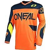O'Neal | Camiseta de Motocross | Enduro MX | Transpirable, protección Acolchada para el Codo, Apto para el máximo Rango de Movimiento | Jersey Element Racewear | Adultos | Naranja Azul | Talla L